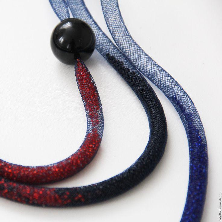 """Купить Ожерелье из сетки """"Трио"""" - тёмно-синий, длинное колье, длинное украшение, ожерелье, сетка"""