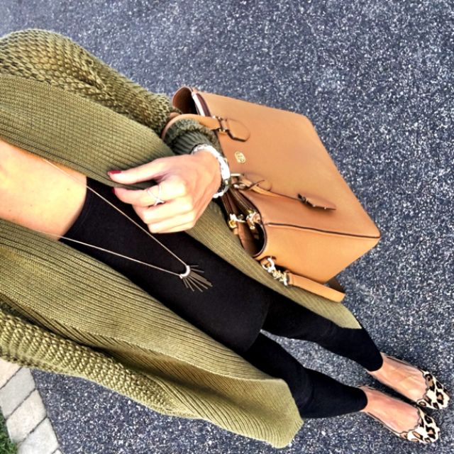 IG @mrscasual <click through to shop this look> Army green cardigan.  Black zella live in leggings.  leopard flats.  Tory Burch robinson tote.