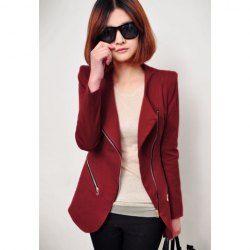 $15.60 Slimming Sloping Zipper Shrug Lapel Long Sleeved Blazer For Women