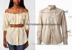 restyle a man's dress shirt in a peasant blouse