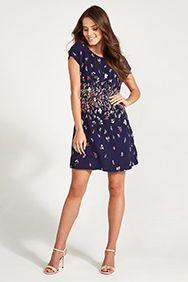 Navy Multi-Coloured Botanical Print Tea Dress | Apricot
