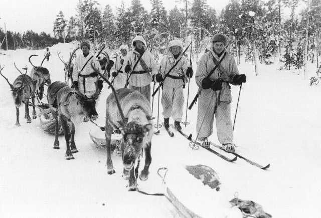 (how finns fight a war) Winter War, Reindeer patrol in Jäniskoski near Petsamo 20th Feb. 1940
