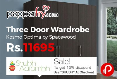 Pepperfry #ShubhAarambhSale is offering 45% off on Three Door Wardrobe Kosmo Optima by Spacewood at Rs.11695 Only. Wenge Finish, Engineered Wood, 36 Months Warranty.  http://www.paisebachaoindia.com/three-door-wardrobe-kosmo-optima-by-spacewood-at-rs-11695-only-pepperfry/