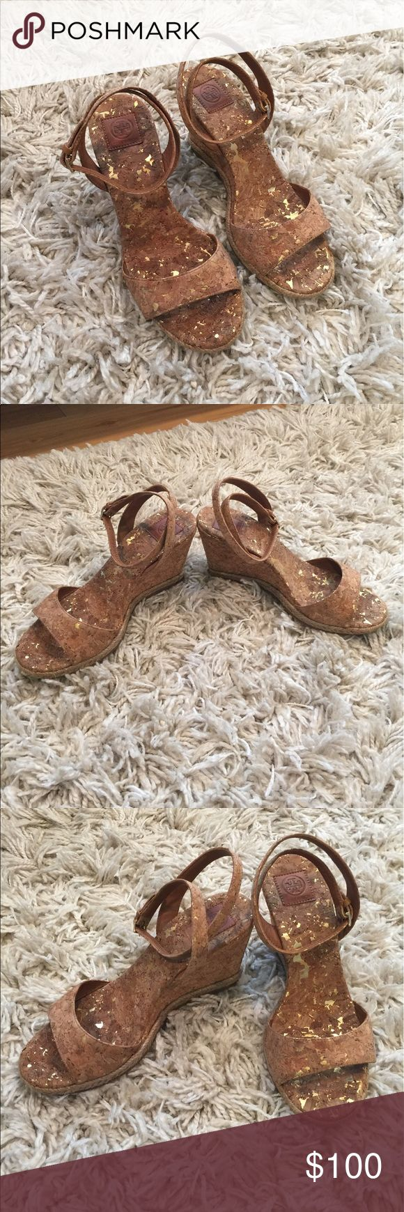 Tory Burch cork wedge sandals! Selling cute Tory Burch wedge cork sandals. Worn twice! There is slight discoloration on the sole... barely noticeable as you can see in the pics. Almost new condition as you can see from the bottom of the shoes. Perfect for summer! Tory Burch Shoes Sandals