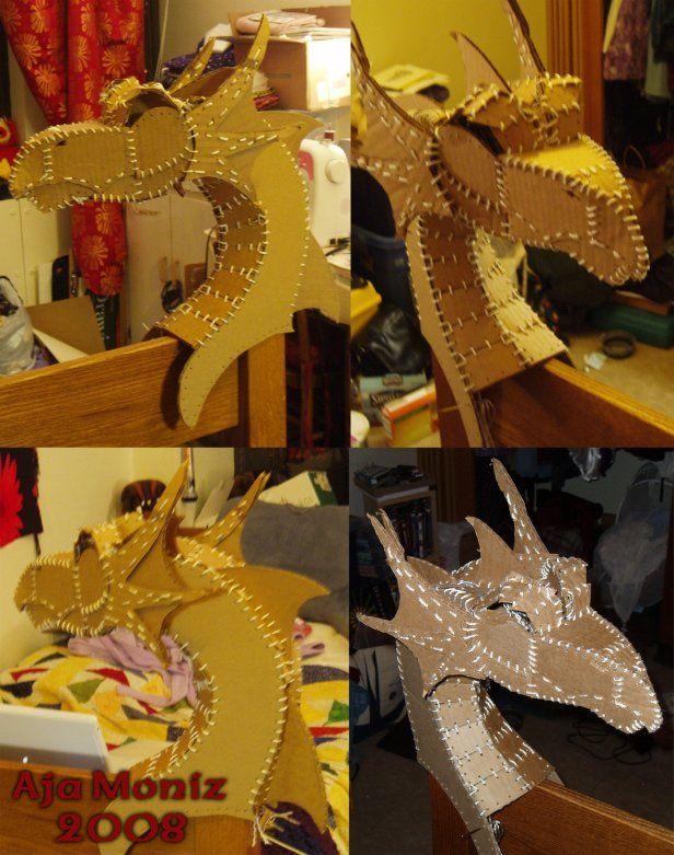 cardboard dragon head