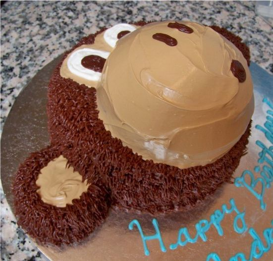"Monkey Smash Cake - This was inspired by many other CCers, thanks guys! It's an 8"" round with a sports ball pan for the nose. I made the ears with additional cake cut with the holders of the sports ball pan :)"