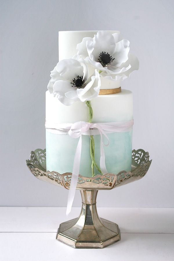 Wildflower Cakes London Watercolour Green and sugar anenomes wedding cake with gold bands and wrapped in silk ribbon
