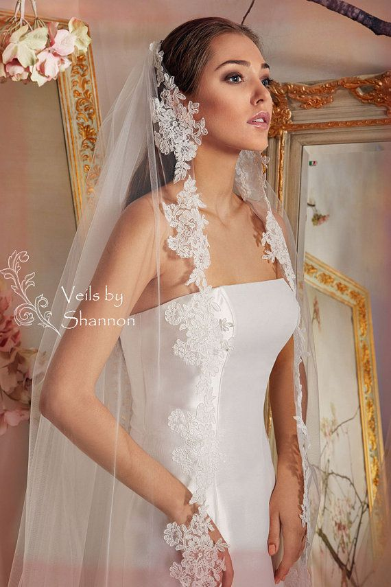 Long Lace Trim Veil in Cathedral Length 1 Layer by Shannonveils