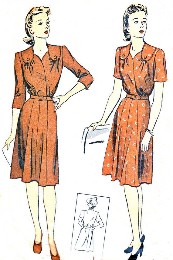 1940s Dress Pattern DuBarry 5715 Gored Skirt Day or Evening Dress with Shoulder Yoke Womens Vintage Sewing Pattern Bust 38