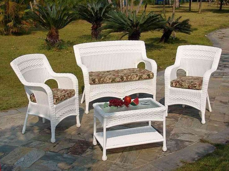 furnitures beautiful white wicker furniture set have some fruits on rectangle wicker table with glass top above brick stone floor around yard that have