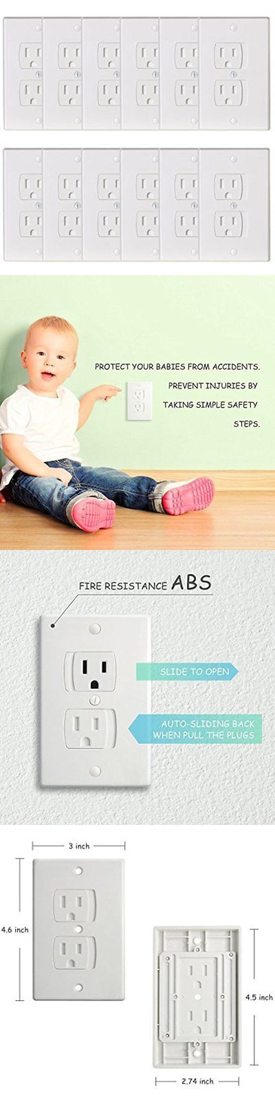 Outlet Covers 134764: 12 Pack-Universal Electrical Outlet Covers, Baby Safety Self-Closing Wall Socket -> BUY IT NOW ONLY: $36.86 on eBay!