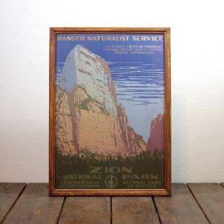 ビンテージ ポスター A3サイズ(複製)-1938 Zion National Park(ザイオン国立公園)-