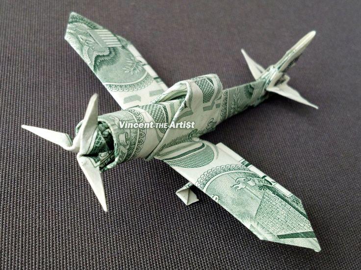 Zero Fighter Plane - Money Origami - Dollar Bill Art