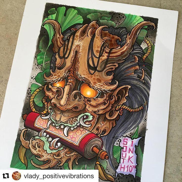鬼 (おに) Oni by @vlady_positivevibrations #japanesetattooart #japanesetattoos #newschooljapanese #japaesetattoo #traditionaljapanese #irezumi #irezumicollective #tebori #wabori #japanesetattoodesign #neojapanese #tattooartist #tattooart#artwork #art #prints #ink #inked #tattooed #tattoist #instaart #instagood #tatted #instatattoo #bodyart #tatts #tats #amazingink #tattedup #inkedup