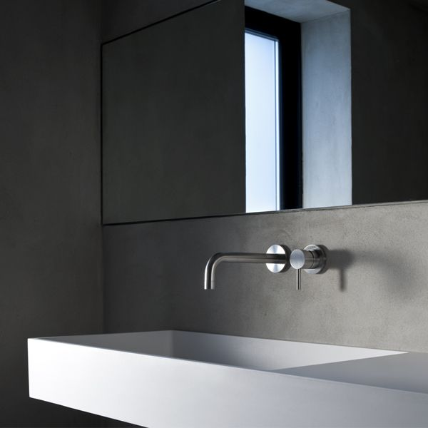 Mitigeur lavabo mural 2 trous inox satiné avec bec 19 cm - Quadro - Sdebain.com
