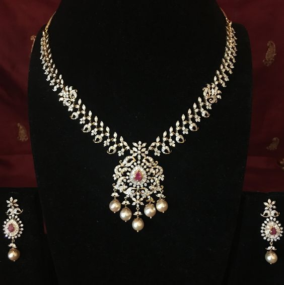 Diamond Necklace with Ruby and Emerald – Necklaces – Diamond Jewelry