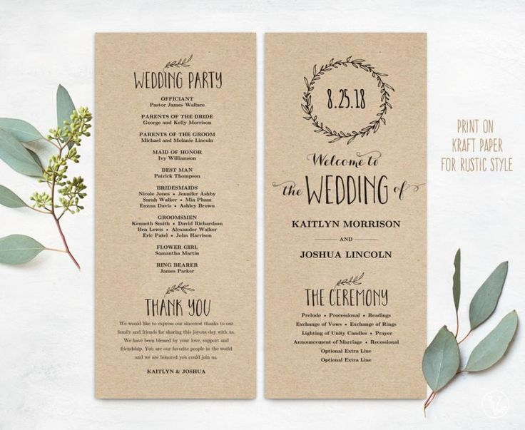 Printable Wedding Programs, DIY Wedding Programs, Simple Wedding Program, Wedding Program Template, Editable text, Classic Wreath VW06
