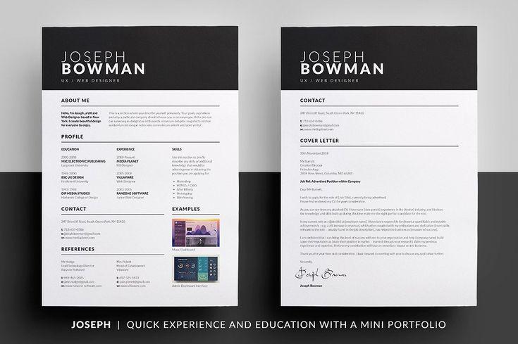 Essential Resume - Joseph by bilmaw creative on @creativemarket #cv #resume #template