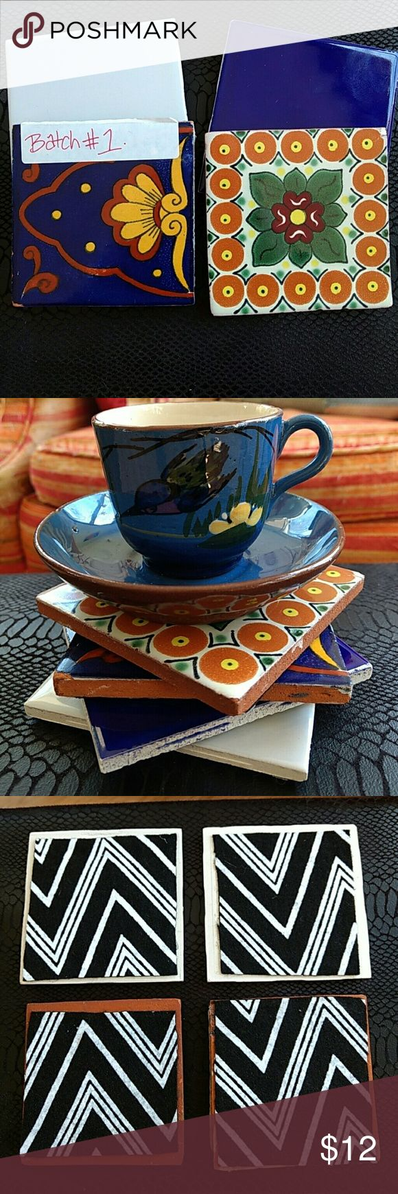 Tile coasters { teacup not included}  Coaster bundle includes:  *2- random hand painted traditional talavera Mexican tiles.   *2- white and blue tiles  *Felt backing so they don't scratch your surfaces. Other
