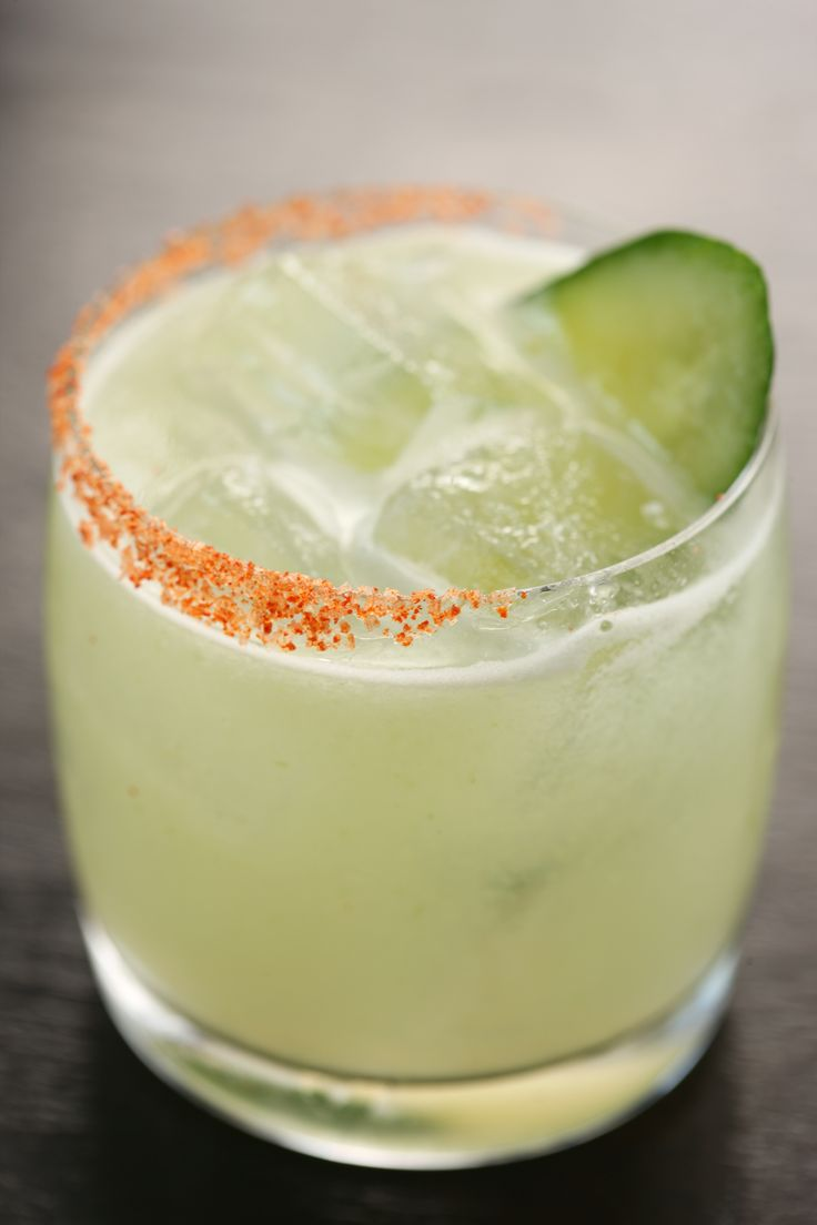 Spicy Cucumber Margarita: tequila, st germain, lime juice, cucumber puree, agave, jalapeno infused tequila