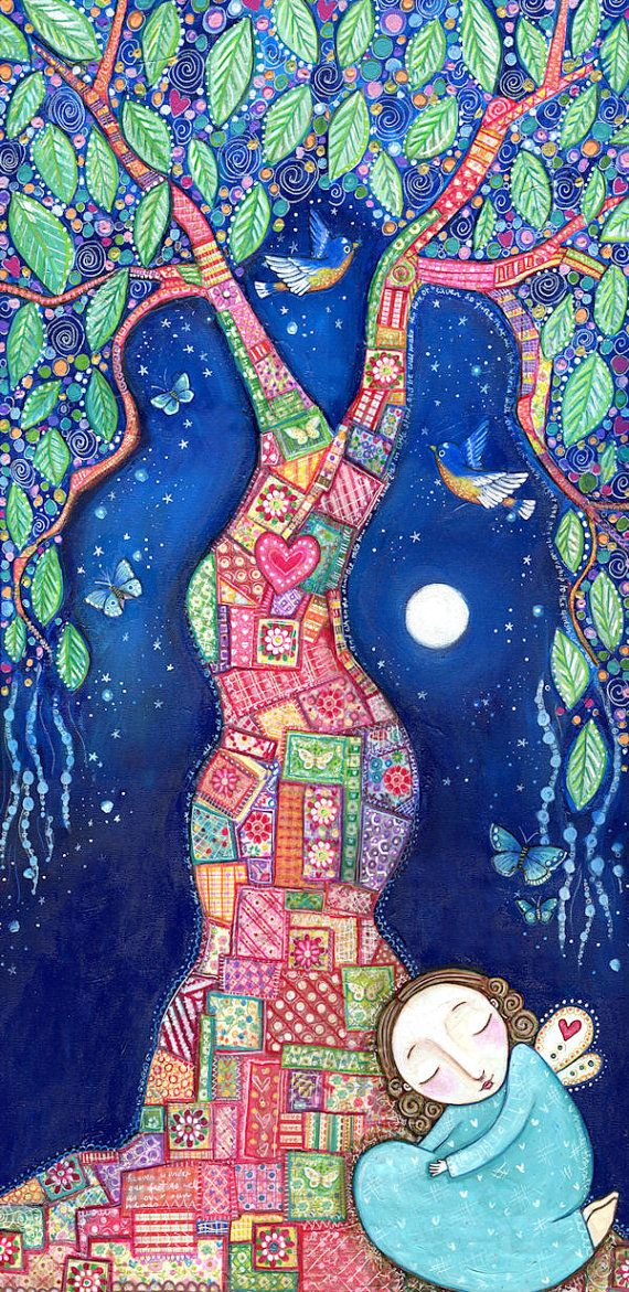 Tree art print patchwork picture design inspirational whimsical folk artwork bluebirds butterflies wall decor - The Healing Place. $20.00, via Etsy.