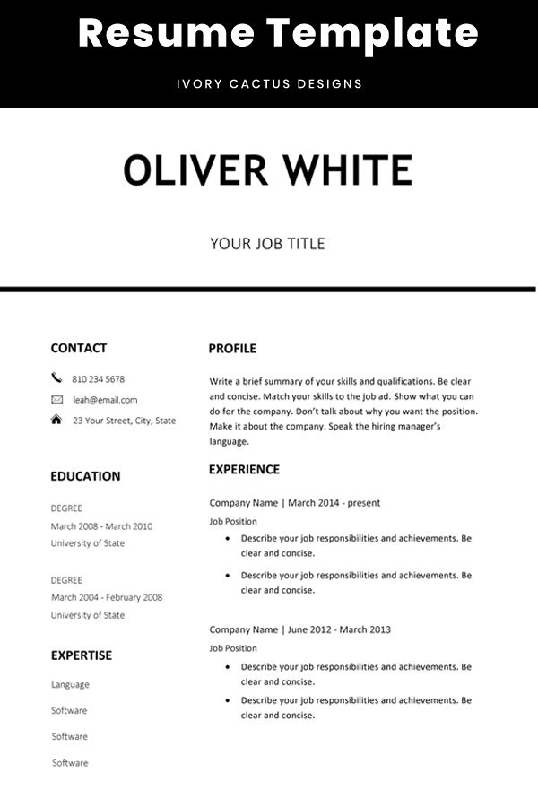 Modern Cv Template One Page Resume Professional Simple Design
