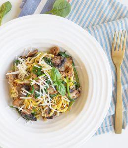 Spaghetti med chorizo, sopp og spinat