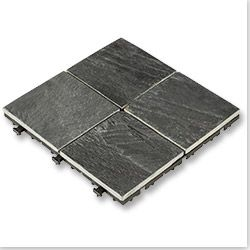 "Interlocking Deck Tiles - Elements Earth Series - Slate/12""x12""x1""/Slab 4 Square"
