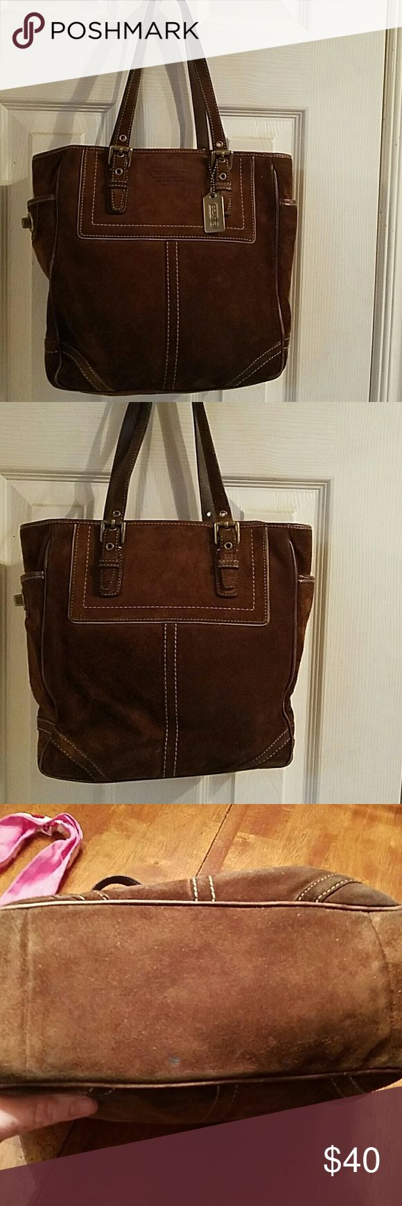 """COACH TOTE,  BROWN SUEDE, GREAT CONDITION Coach Brown Suede Handbag - F10410 12 1/2"""" X 10"""" X 4""""  Beautiful authentic Coach tote. Dark brown suede in excellent condition. Very roomy.  Contains 2 inside slip pockets and 1 zip pocket.  Purse zips from the top.  It has an outside pockets on each side (2) that have twist locks. Coach Bags"""