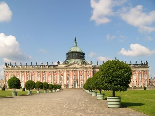 Sanssouci Palace and Gardens, Potsdam, Germany (outside Berlin, to the east).  This is the place of the 1945 Potsdam Conference (Churchill, Truman and Stalin) in which Germany was divided into four portions, ultimately leading to the cold war split of West Germany (British, French and American parts combined) and East Germany (Soviet USSR).