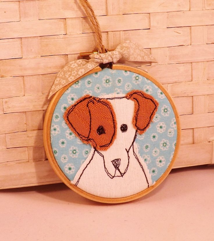 Jack Russell Terrier, terrier, hoop, hoop art, applique, embroidery, gift, birthday by TheDogandtheMoon on Etsy