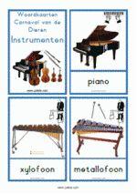 11 Woordkaarten Carnaval van de Dieren - instrumenten die in het stuk worden gebruikt