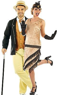 Las parejas y para hombre 1920s Charleston Gatsby Señoras Vestido  Encantador Ropa Trajes 221b3f90a97