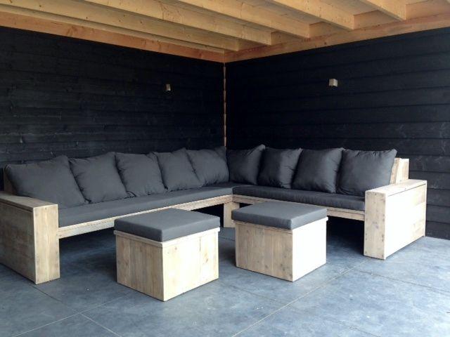 Loungeset steigerhout robuust met kussens