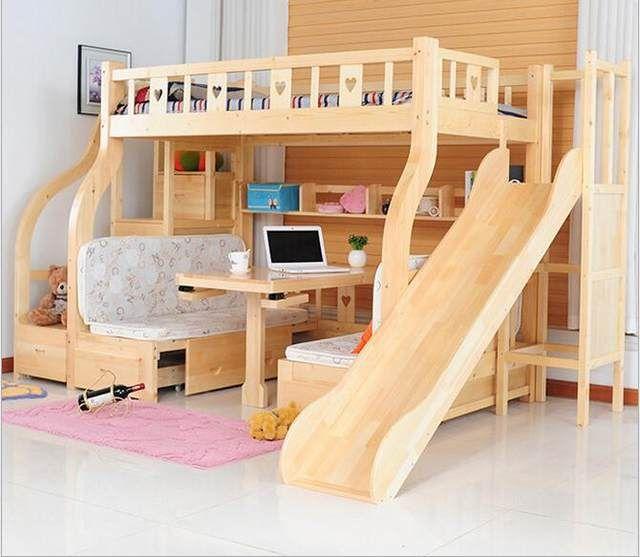 Children Beds multi-function environmental children bunk bed wooden beds with study desk drawer slides Children bed