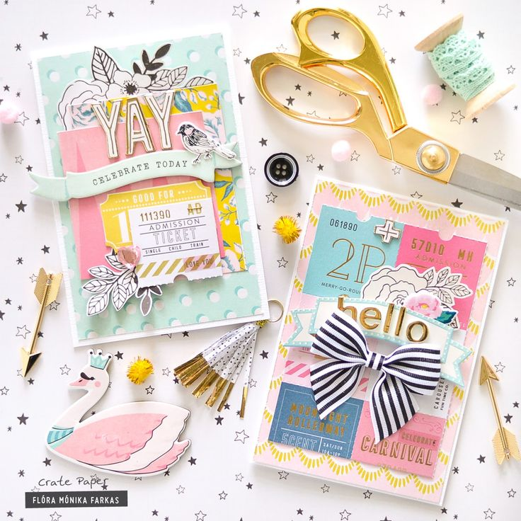 Hi Ladies! I am back with two cards made with the pretty Crate Paper - Maggie Holmes Carousel collection. I love the versatility of Carousel as it fits to many themes. These cards were made for birthd