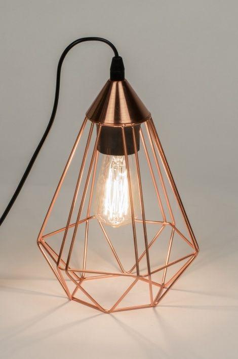 tischleuchte 10157 modern zeitgemaess klassisch laendlich rustikal kupfer - Nachttischlampen