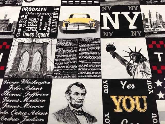 I Love #NY! #tessuto stampato #arredamento sul tema New York city. Composizione: 33% #cotone, 34% poliestere, 33% acrilico