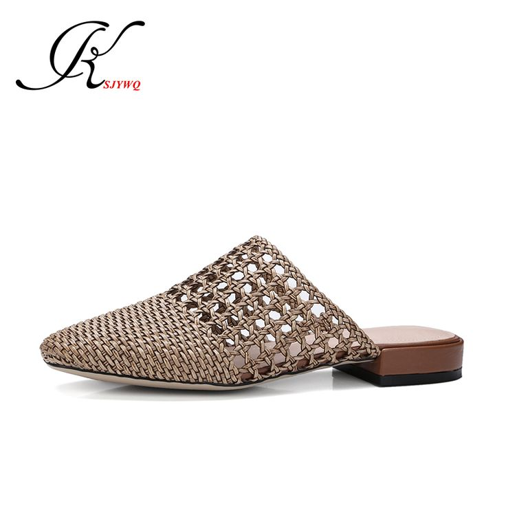 2017 Environmentally Weaving Summer Slippers Hollow Women Mules 2 cm Heels Sexy ladies Shoes Woman Size 34-40 Box Packing T11
