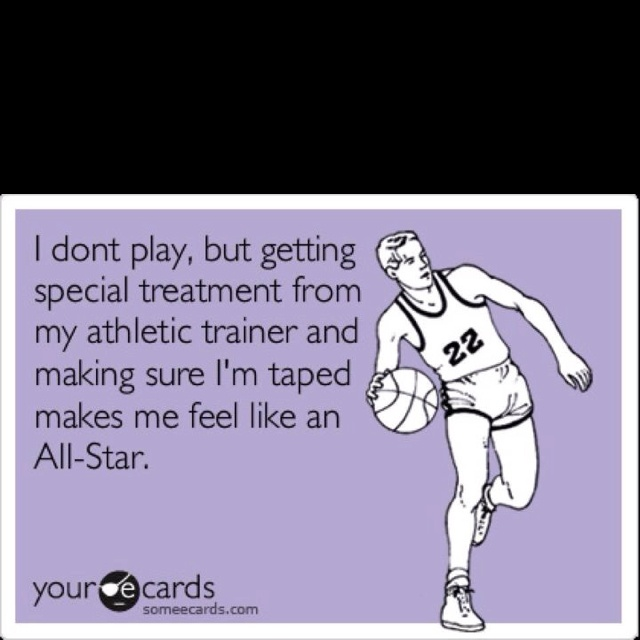 Happy National Athletic Training Month!! Haha this is 100% true. My poor non-playing athletes wanna feel loved
