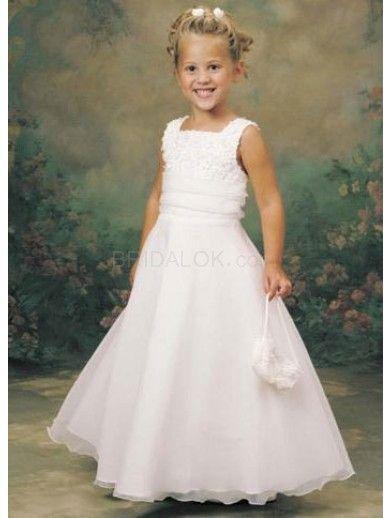 062d214e1f1 White Sleeveless Embroidery Satin Flower Girl Dress
