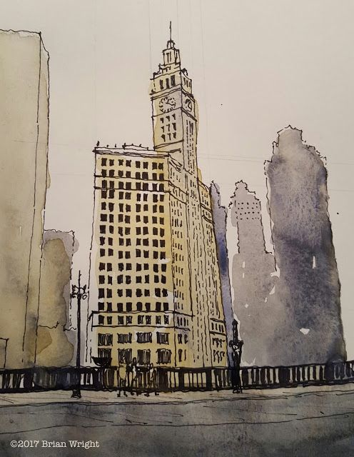 Postcards from Chicago: #11 The Wrigley Building - I like the way the background bldgs are made so vaguely