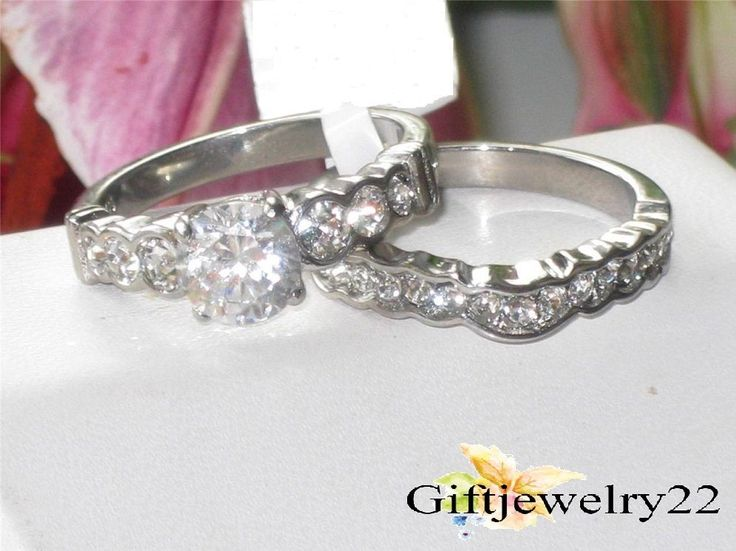 1.30CT D/VVS1 Diamond Bridal Set Round Cut Engagement Ring Matching Wedding Band #giftjewelry22