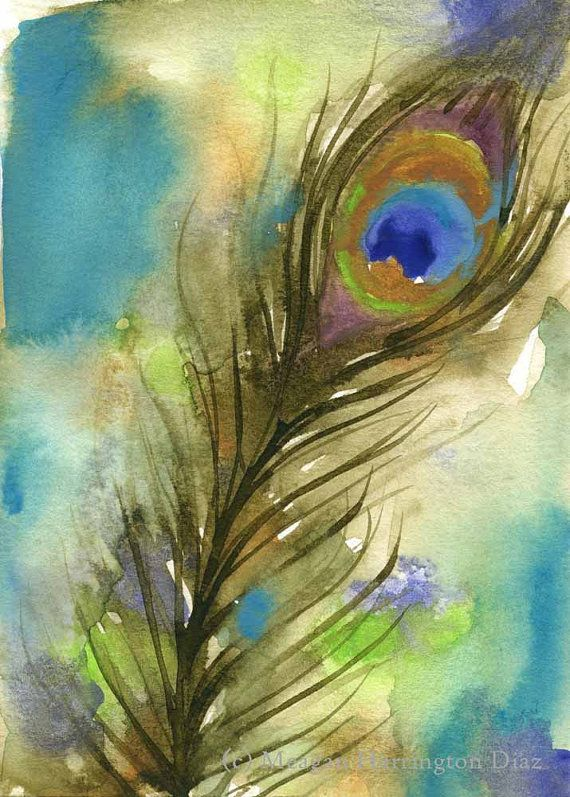 In this very colorful ORIGINAL peacock feather watercolor painting, the feather and the background fill the paper with rich, vibrant colors.