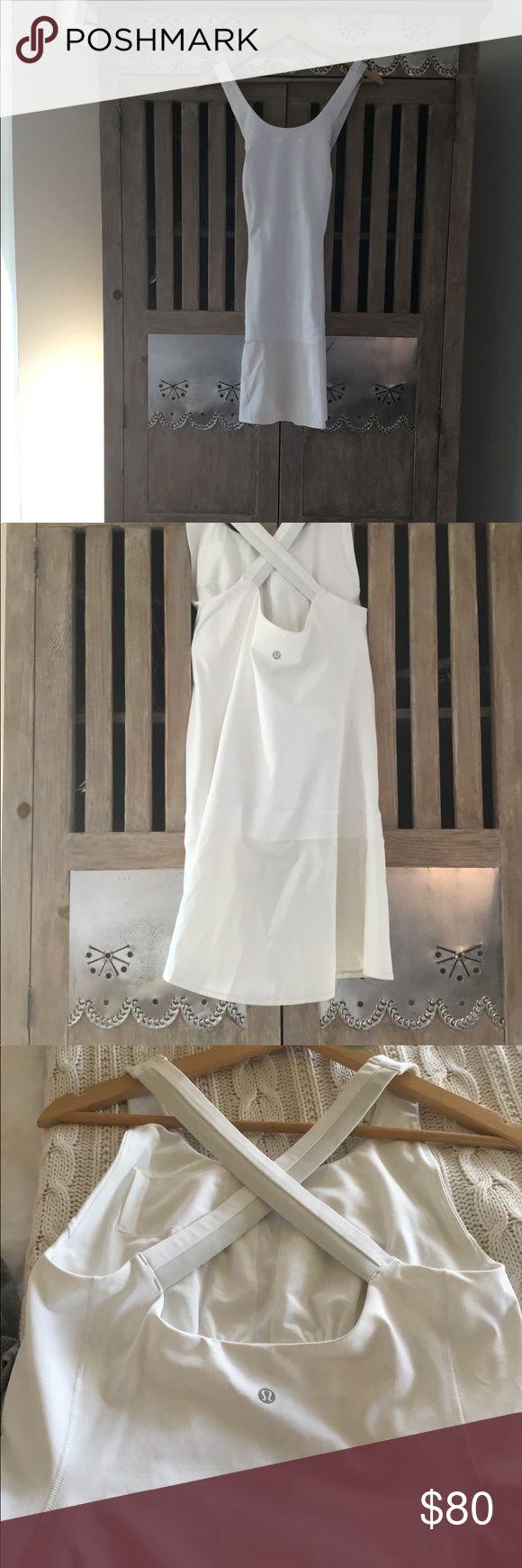 White Lululemon Dress! Never worn! Unique white lulu dress! Built in chest support lululemon athletica Dresses