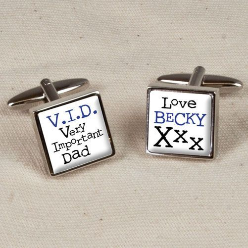 Personalise this pair of polished chrome V I D Very Important Dad Personalised Cufflinks Personalise with name max 10 characters on one cufflink and