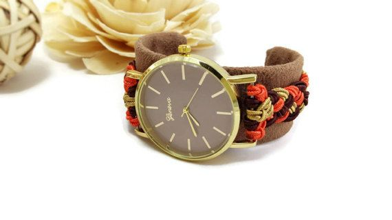 Cuff wrist watch  Brown cuff watch for women by HarmonyHourWatches