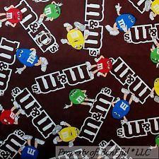 Tecido de ALGODÃO FQ bonEful VTG Colcha Marrom Chocolate Vermelho Verde M&M s Candy Dot Rosto