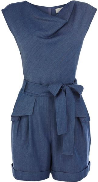 Karen Millen England Tencel Denim Collection Playsuit - Lyst