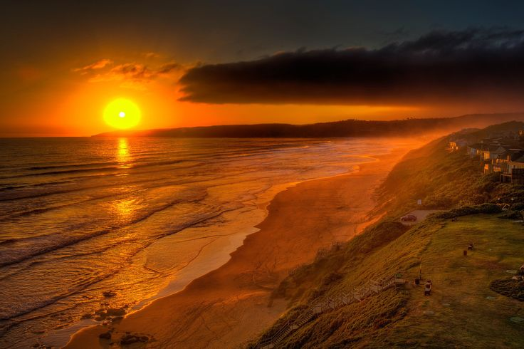Looking down the coast at sunset on the Garden Route, South Africa